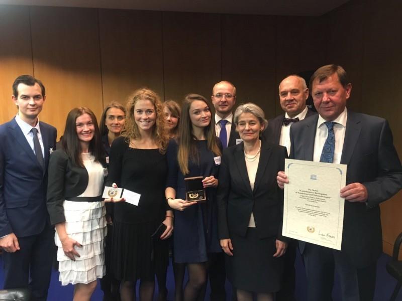 圣光机(ITMO University)获得UNESCO (联合国教育、科学及文化组织)的大学独特环境奖牌